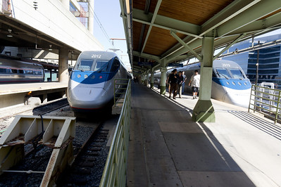 Two Acela power cars at Washington Union Station.