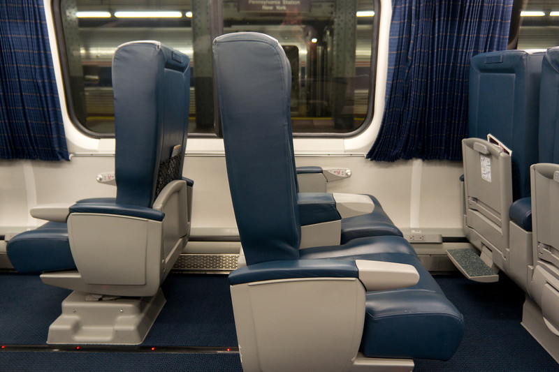 First Class seating on board the Acela Express.