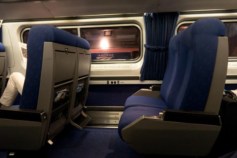 Inside a business class Amfleet I car on the Northeast Regional, on my return to New York.