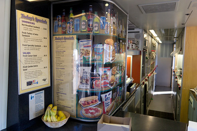 Some of the fine delicacies available at the Acela Express' snack bar.