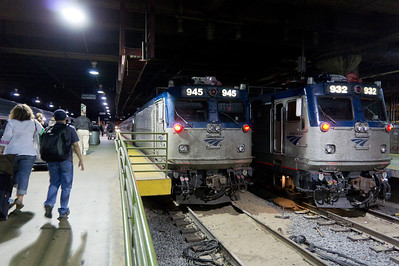 Two Amtrak AEM-7 units sitting at Washington Union Station.  These power the less exciting Northeast Regional trains, which are about half an hour slower than the Acela Express.