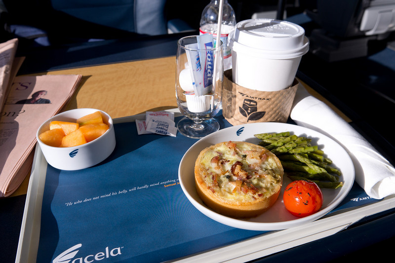 The first class breakfast on the Acela Express.  There were about four meal choices, all of them this tiny.  Not exactly worth the substantial premium charged for first class!