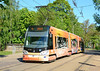 Skoda designed low floor tram 57103 is seen in Ausekla iela on service 6. These new trams are very comfortable to ride in, & are a complete change in technology compared to the older trams.