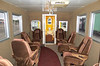 Interior of the Farmrail caboose, which served as a business car for the short line.  A fancy crummy!