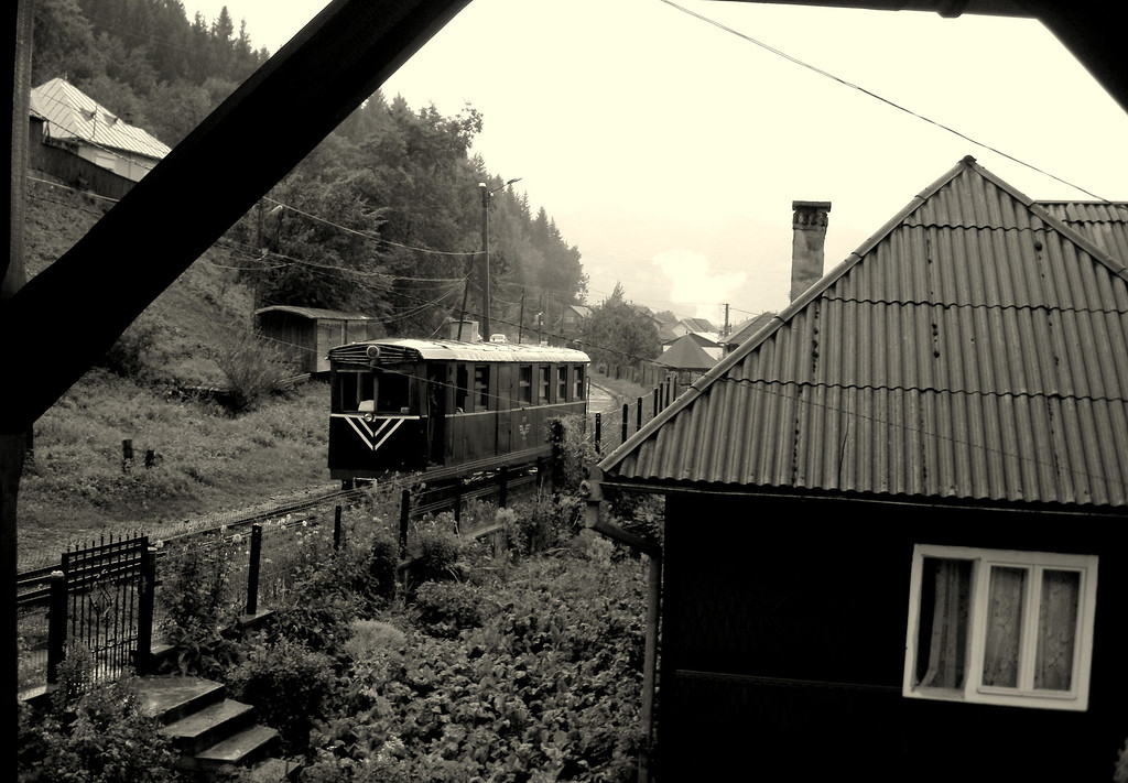 Verandah view from the B and B of another cool little railcar shunting about