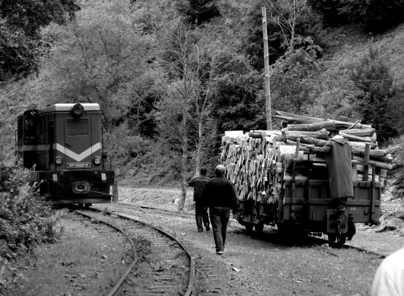 some kind of wire lasso is being used as part of this shunting manoeuvrings on route back to Viseu de Sus