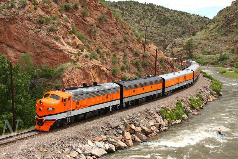 Canon City and Royal Gorge westbound at Parkdale, Colorado.