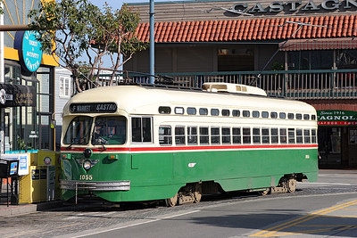 San Francisco F Line Streamliner PCC 1055 in Philadelphia,PA 1950's livery arriving at Beach & Jones on a service from Castro. 26/04/2007.