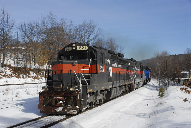 Pan Am Railways train NMED (Northern Maine East Deerfield) passes through Millers Falls and the paralell NECR track. February 25, 2007.