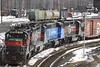 Pan Am Railways train NMED (Northern Maine East Deerfield) arrives at East Deerfield Yard, February 25, 2007.