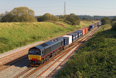 Ex DRS Malcolm liveried 66412 heads 4V50 10.54 Southampton to Wentloog Freightliner down Pilning Bank towards the Severn Tunnel. Friday 30th September 2011.