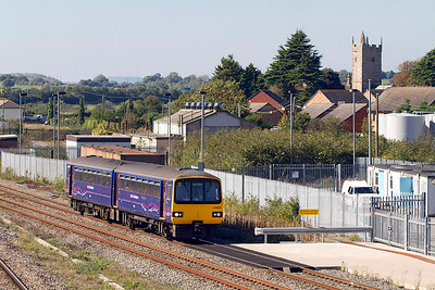 143620 approaches Severn Tunnel Junction forming the 13.00 Cardiff Central to Exeter St. Davids. 28/09/2011. Remember when that would have been a 45/47 with 7 coaches, progress!