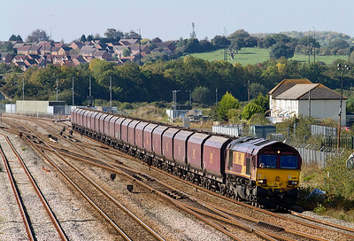 66011 heads 4C61 09.20 Aberthaw Power Station to Avonmouth empty coal hoppers past Severn Tunnel Junction. 28/09/2011
