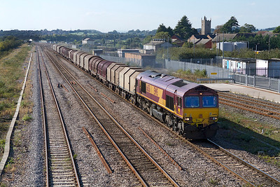 66051 heads 6M41 11.55 Margam to Round Oak loaded steel carriers past Severn Tunnel Junction. 28/09/2011