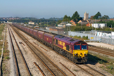 66053 heads the 31 empty HTA's forming the 4E66 08.55 Margam to Redcar past severn Tunnel Junction. 28/09/2011