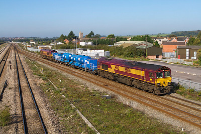 The Barton Hill Rail Head Treatment Train passes Severn Tunnel Junction returning from the Welsh Valleys with 66176 leading and 66175 on the rear. 28/09/2011