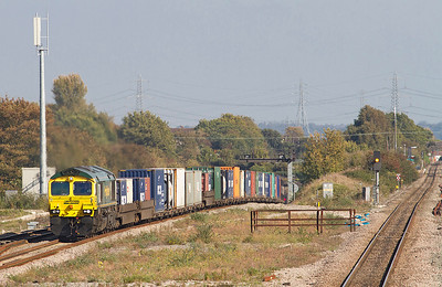 66588 climbs out of the Severn Tunnel with 4V50 10.54 Southampton to Wentloog Freightliner. 28/09/2011
