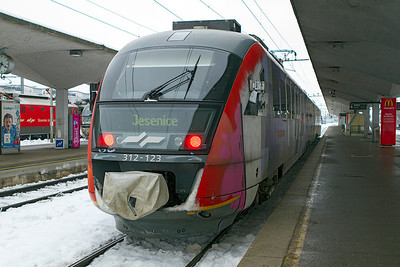 Siemens Desiro 3 car EMU 312-138 waits to depart from Ljubljana forming train LP2418 09.45 to Jesenice. Thursday 14th February 2013.