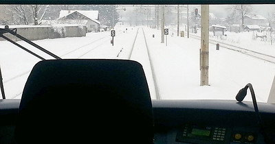 View from rear cab of Siemens Desiro 3 car EMU 312-138 heading from Ljubljana as train LP2418 09.45 to Jesenice. Thursday 14th February 2013.