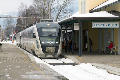 2 car Desiro's 312-012 & 312-020 arrive at Lesce-Bled forming the LP2409 Jesenice to Ljubljana. Thursday 14th February 2013.