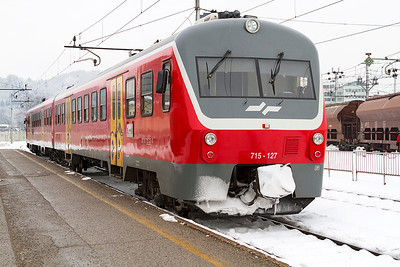 2 car DMU 715-127 stabled in the bay platform at Ljubljana. Thursday 14th February 2013.