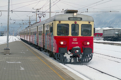 4 car EMU 315-203 built 1975 and with very few left in service arrives at Lesce-Bled forming train LP2408 14.45 Ljubljana to Jesenice. Thursday 14th February 2013.