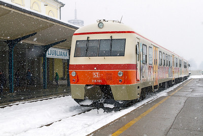 DMU 715-101, Built 1983 waits for it's next duty in the bay platform at Ljubljana. Wednesday 13th February 2013.