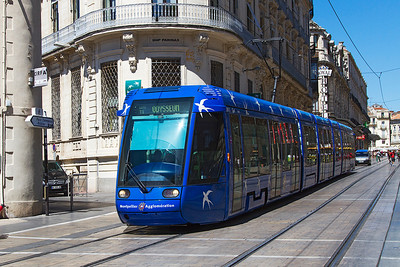 Montpellier Alstom Citadis tram working a Line 1 service. Monday 12th August 2013.