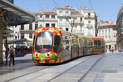 Montpellier Alstom Citadis tram working a Line 2 service. Monday 12th August 2013.
