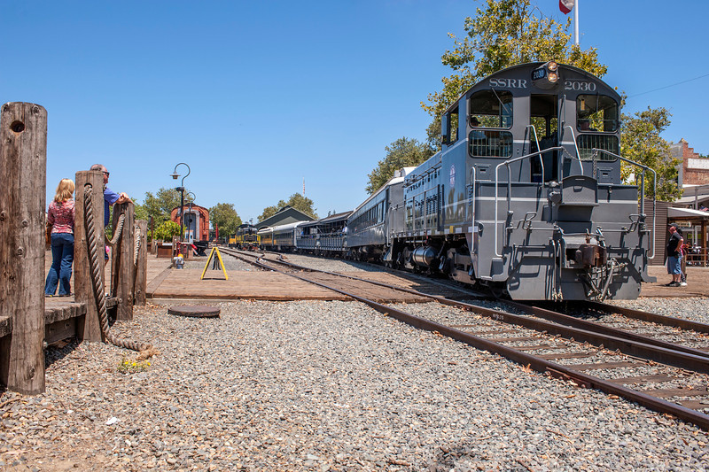 The Sacramento Southern heads out on her second journey.  It was this journey that the main power overheated.