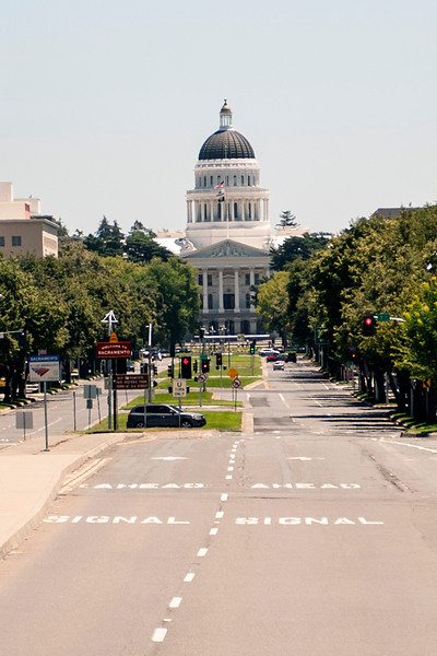 The California State Capitol, visible from the route.