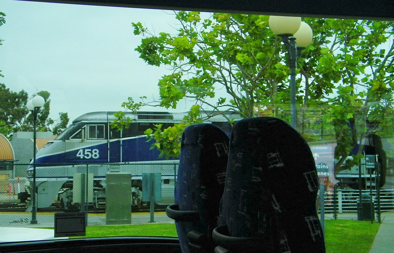 Amtrak Pacific Surfliner 774 departs Oxnard, seen from Ambus 4615, which would deliver Team Whooz to Bakersfield to board a San Joaquin.