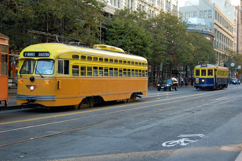 Los Angeles Railway PCC and 1920's era MUNI trolley.