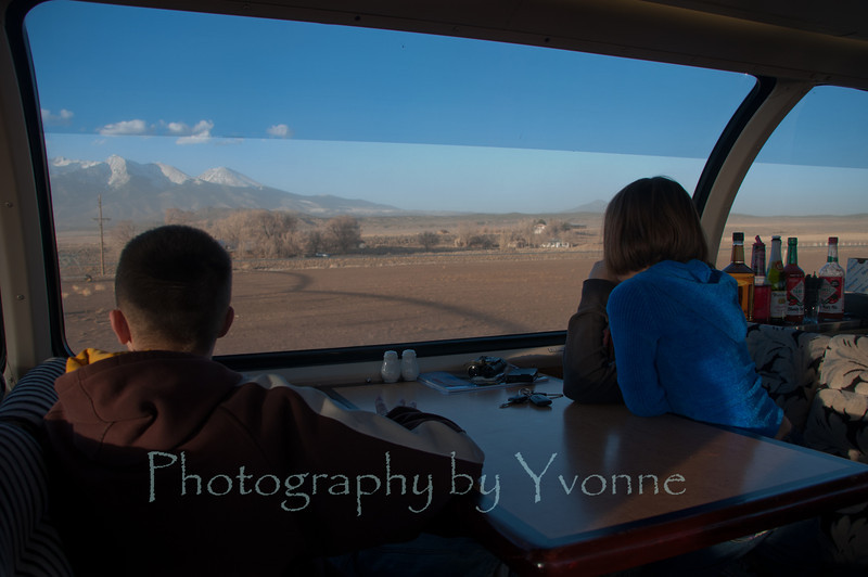 Viewing from the dome car! Blanca Peak in background.
