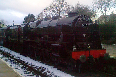 46115 Scots Guardsman arrives at Appleby for her water stop.