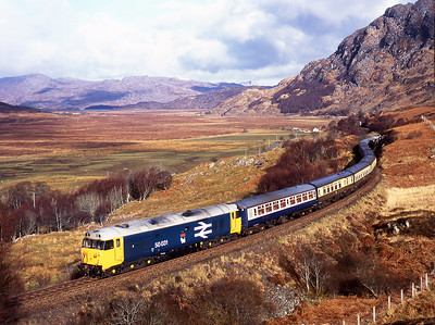 50031 brings up the rear of an Arisaig-Mallaig empty stock shunt move at Kinloid 5/3/05.