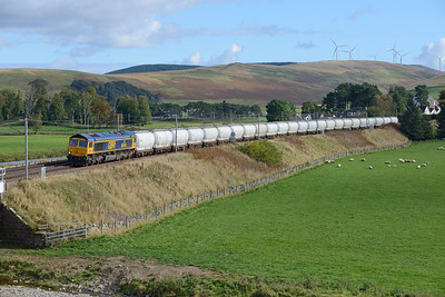 The diverted North Blyth-Fort William Alcan tanks pass Crawford behind 66740 on 8/10/16.