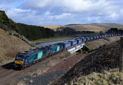 68002+68003 pass Crawford with the Tesco train 10/3/15.