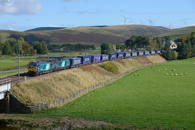 68025+68023 pass Crawford with the Tesco train on 8/10/16.