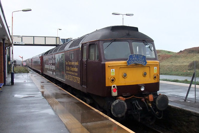 47826 with its Scarborough Spa Express advertising vinyls, on the rear of the charter at Sellafield.
