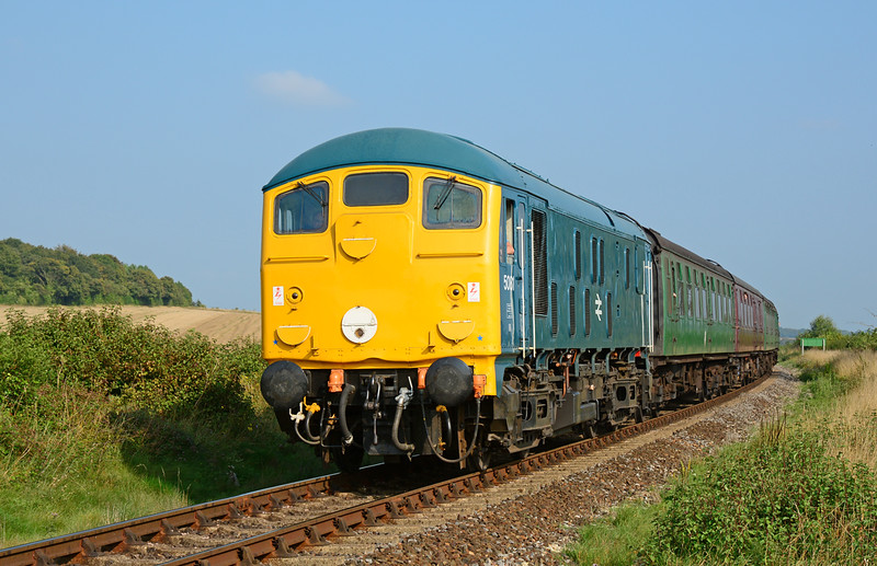 24081 is seen heading for Alresford in some decent late afternoon sunshine. This shot taken at the foot crossing near Bishops Sutton.