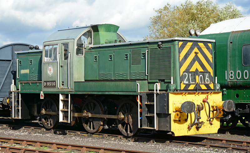 Class 14 D9516 stands in the sun at the Didcot Railway centre 11/10/2014. Built in the nearby Swindon works in 1964, this locomotive worked for about a year for BR. It was then stored & sold on to industry.