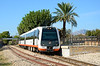 Metre gauge DMU 2511 departs Benissa station with the 10:25 service to Denia. The light at this time of day near perfect.