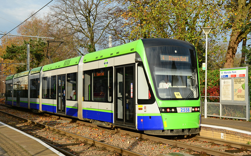 Staddler built Tram 2558 seen at Wandle Park on the Croydon TramLink, awaiting access to the single line section 29/11/2014.