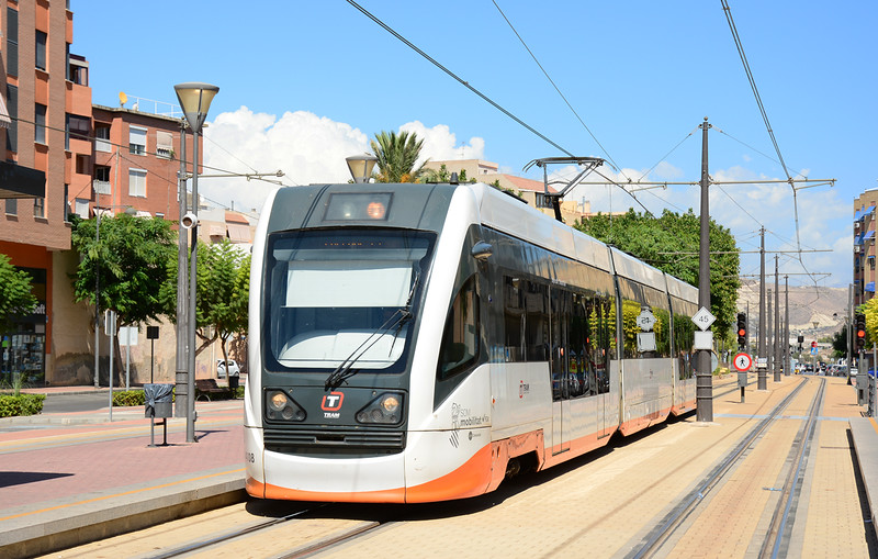 Tram 4108 is seen arriving at El Campelo on service L1 heading for Alicante.