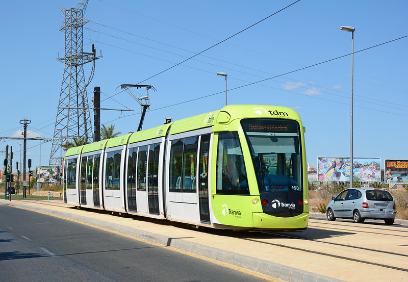 "Built by Alstom ""Citadis 302""  the Murcia Trams look smart in the pale Green livery, here we see 163 at Principe Felipe heading into the city. The four exterior brake dics can just be seen in this shot."