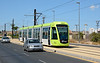 Tram 161 in Murcia Southern Spain 11/09/2014. These Citadis 302 Trams purchased from Madrid in 2011.