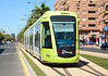 Tram 164 is seen passing the turnback crossover near Juan Carlos 1 in the centre of the city of Murcia. These Alstom built trams were transferred from Madrid when the line opened in 2011.