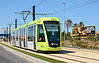 Murcia Tram 162 is seen on the approach to Churra heading into the city.