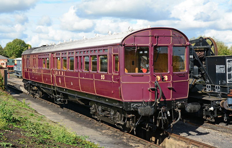 GWR steam railmotor 93 awaits in next duty at the Didcot Railway centre 11/10/2014.